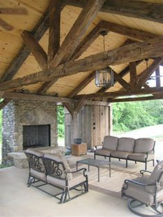 Vintage Barn beam pavilion - mediterranean - products - nashville - Appalachian Log and Timber Homes Outdoor Sheds, Outdoor Shelters, Outdoor Rooms, Outdoor Living, Metal Building Homes, Pizza Ovens, Pole House, House Deck, Rv Carports