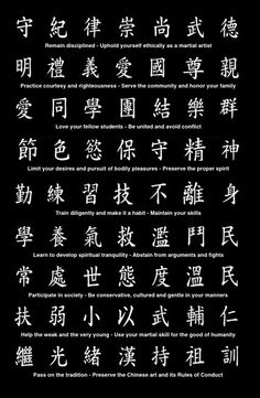 Wing Chun code of ethics.