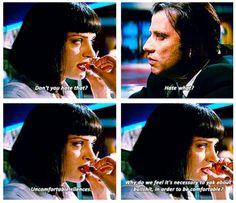 Pulp Fiction (1994).  Uma Thurman (Mia Wallace) and John Travolta (Vincent Vega)