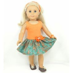 American Girl 18 Doll Dress Tank Dress Orange with by MegOriGirls ❤ liked on Polyvore featuring american girl dolls, dolls ag and toys