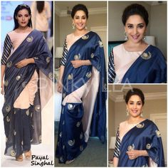 The ever beautiful Madhuri Dixit attended an UNICEF event earlier today looking gorgeous in a Payal Singhal Saree. Madhuri Dixit Saree, Saree Jacket Designs, Saree Jackets, Casual Work Attire, Indian Designer Wear, Saree Collection, Blouse Styles, Indian Fashion, Women's Fashion