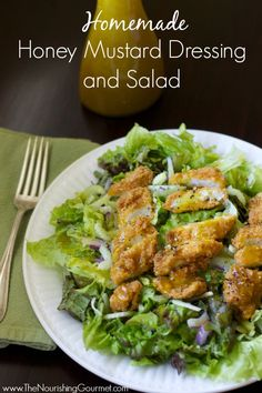 Homemade healthy honey mustard dressing (perfect for a main dish meal with served over greens and crispy chicken strips!) --- The Nourishing Gourmet