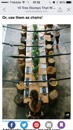 Table with tree stumps
