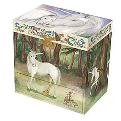 Enchantmints Unicorn Music Box - B1202 Features: -Product Type:Jewelry box -Shape:Rectangle -Style:Children's -Finish:Multi-color -Exterior Material:Wood -Exterior Material:Metal -Drawers Included:Yes -Mirror Included:Yes -Musical:Yes -Personalizable:No -Figurine Included:Yes. Dimensions: -Overall Height – Top to... - http://ehowsuperstore.com/bestbrandsales/music/enchantmints-unicorn-music-box