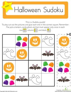 On this fun Halloween Sudoku, kids use their logical reasoning and critical thinking skills to solve this puzzle. Theme Halloween, Halloween Games, Easy Halloween, Holidays Halloween, Halloween Crafts, Halloween Puzzles, Kindergarten Activities, Activities For Kids, Group Activities