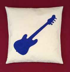 Rock & Roll Guitar Pillow Cushion Cover Cream With by BeUniqueBaby