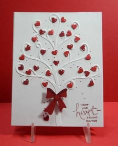 Valentine's Day Card - embossed tree bg w/ hearts (do this w/ flourish embossing? Wedding Cards Handmade, Greeting Cards Handmade, Valentine Love Cards, Valentines, Holiday Cards, Christmas Cards, Karten Diy, Embossed Cards, Creative Cards