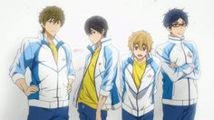 ES ~~ This is Rin's fantasy image of the Iwatobi boys. :: Makoto, Haruka, Nagisa, and Rei Haruka Nanase, Makoharu, Free Eternal Summer, Free Iwatobi Swim Club, Kaichou Wa Maid Sama, Fantasy Images, Bishounen, Anime Screenshots, Free Anime