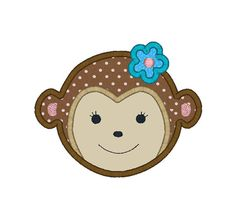 Monkey Girl Applique Machine Embroidery Design-INSTANT DOWNLOAD
