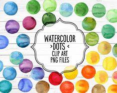 Watercolor dots digital clipart