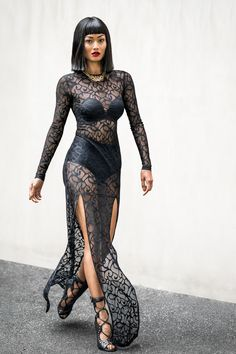 lace dress with gold accessories
