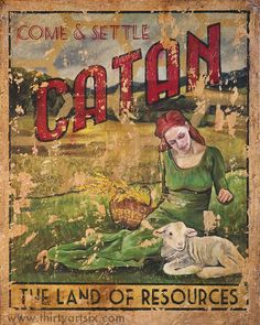 Hey, I found this really awesome Etsy listing at https://www.etsy.com/listing/235163687/settlers-of-catan-vintage-travel-poster