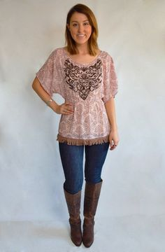 Vintage print tunic top with embroidered front and fringe hem from Dreamgirls   Ocean Beach, CA