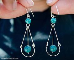 beautiful, handmade silver and turquoise beaded earrings from Israel