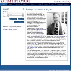 """One of the many databases available for FREE through www.emmaclark.org/ with your library card!  Includes notable reference sets: """"Critical Insights: The Hero's Quest"""", """"Critical Survey of Long Fiction"""": """"Critical Insights""""- an in-depth analysis of Saul Bellow, Albert Camus, John Cheever, Jack London & John Updike; and """"Masterplots"""", 4th Edition."""