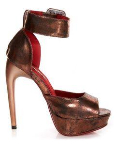 Stilettos bronce con ankle wrap <3