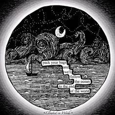 Follow the Ocean/ blackout poem / print / digital download /
