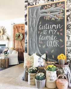"Fall Chalkboard ""Autumn is my favorite Color"" and DIY Barn Door Soft Fall Palette Fall Chalkboard Art, Kitchen Chalkboard, Chalkboard Drawings, Chalkboard Lettering, Chalkboard Designs, Chalk Drawings, Chalkboard Ideas, Halloween Chalkboard Art, Chalkboard Walls"