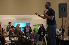 Baratunde Thurston in the Samsung Blogger Lounge.          SXSW Interactive 2012. SXSWi in Austin TX. Photo by Esteban Contreras.