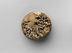 Netsuke of Flowers and Praying-Mantis; Scarecrows in a Field  Attributed to Ryusa  18th century