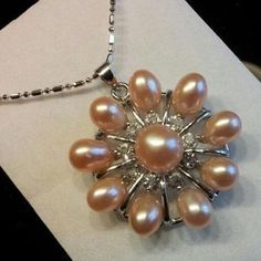 """Pink 10-Pearl Freshwater & Center Akoya 30mm Pendant Necklace 16"""" 18K WGP Chain #Unbranded #Pendant"""