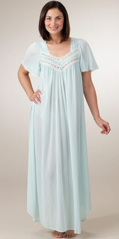 miss elaine silk essence long nightgown