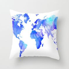 Watercolour World Throw Pillow by Ally Coxon