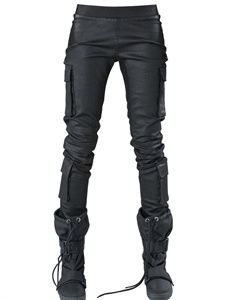 DEMOBAZA - RUBBER DENIM STRETCH LEGGINGS - LUISAVIAROMA - LUXURY SHOPPING WORLDWIDE SHIPPING - FLORENCE