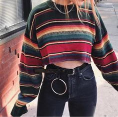 Casual Round Neck Long Sleeve Stripe Sweater - Casual Round Neck Long Sleeve Stripe Sweater You are in the right place about cute outfits Here we - Colourful Outfits, Retro Outfits, Trendy Outfits, Chic Outfits, Insta Outfits, Fashionable Outfits, Vintage Style Outfits, Classy Outfits, T Shirt Outfits