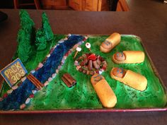 Cake for the Cub Scout Blue and Gold banquet, Girl Scouts or camping party. Cub Scouts Bear, Tiger Scouts, Girl Scouts, Weblos Scouts, Scout Mom, Daisy Scouts, Girl Camping Parties, Camping Theme, Camping Ideas