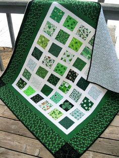 Easy Quilts To Make In A Weekend Lucky Charms 54x60 St Patricks Day Quilt In Greens With Shamrocks Easy Quilts To Make In A Day Easy Quilts To Make By Hand