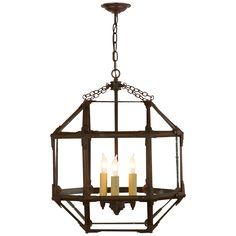 Visual Comfort SK 5009AZ-CG Suzanne Kasler Morris Medium Lantern in Antique Zinc | FoundryLighting.com