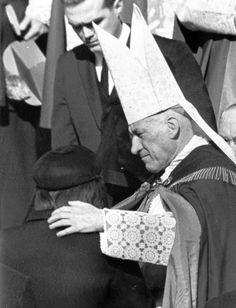 Boston Cardinal Richard Cushing consoles Jacqueline Kennedy after 1963 funeral Mass for President John F. Kennedy