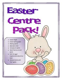 Easter themed centres for you LA!   inclues:-glyph-ee, ea concentration-word family work-alphabetical order-compoud words-writing act...