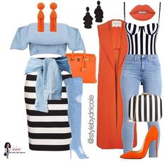 Perfect combination of stripes and denim. These outfits look good if you're shopping , out on a date, or enjoying a night with your girlfriends. Fashion Mode, Cute Fashion, Look Fashion, Autumn Fashion, Womens Fashion, Classy Outfits, Stylish Outfits, Mode Outfits, Fashion Outfits