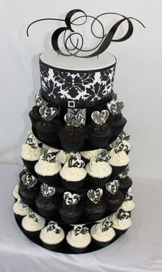 Black And Yellow Damask Cupcake Tower Glimpse Of Me Pinterest Damasks Weddings