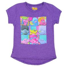Dreamworks Trolls cast of characters heather purple girls short sleeve shirt at Houston Kids Fashion Clothing Store Free Shipping in the Woodlands Texas
