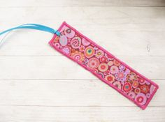 Bookmark fabric unique pink with millefiori Japanese by poppyshome, €5.00