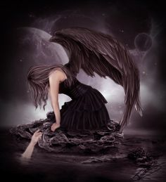 Group of Dark Angels And Goth Dark Gothic Art, Gothic Fantasy Art, Sad Angel, Gothic Angel, Dark Wings, Beautiful Dark Art, Dark Love, Ange Demon, Arte Obscura