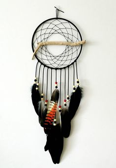 Cockatoo Feather Dreamcatcher - Boho Wall Hanging - Gypsy Dreamcatcher - Bohemian Decor - Boho Wedding - Rare Black Cockatoo Feathers by SpiritBirdDesigns on Etsy