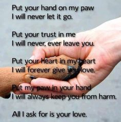 Paw in hand and hand in paw