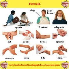 vocabulary for injuires and types of first aid  - learning English basics