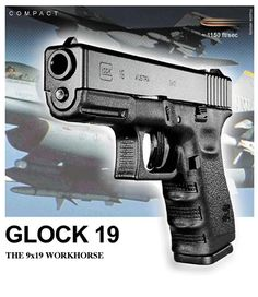 Glock 19 - My soon to be duty pistol. Glock 19 Gen 4, Glock Girl, Glock Models, Best Self Defense, Shooting Gear, Guns And Ammo, Tactical Gear, Firearms, Hand Guns