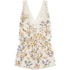 Stella McCartney Poppy Snoozing lace-trimmed floral-print stretch-silk... ($190) ❤ liked on Polyvore featuring jumpsuits, rompers, romper, tops, cream, stella mccartney jumpsuit, cream jumpsuit, white romper, floral jumpsuit and jump suit
