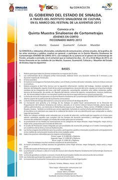 """El Instituto Sinaloense de Cultura convoca a la Quinta Muestra Sinaloense de Cortometrajes """"Jóvenes en Corto"""" Ficcionado Mayo 2013."""