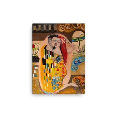 Klimt Inspired - The Kiss - Canvas - from our own original authentic collection of paintings, re-produced in the highest quality print. Vienna Secession, Free Thinker, Gustav Klimt, Rebel, Kiss, Valentines, Passion, Canvas Prints, Inspired