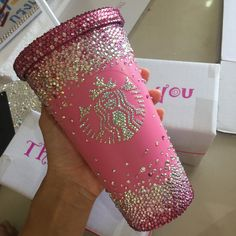 Swarovski Crystal Starbucks Cold hot Cup/Mug customized cup/ pink cup/ pink diamond check out my etsy store for your own private customized cup Bebidas Do Starbucks, Copo Starbucks, Secret Starbucks Drinks, Starbucks Recipes, Coffee Recipes, Personalized Starbucks Cup, Custom Starbucks Cup, Starbucks Tumbler, Starbucks Coffee