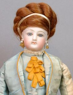 "~On Sale~Size 0 11"" Jumeau Poupee Antique Doll in All Original Silk Dress!"