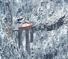 snowy train in Switzerland