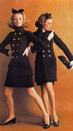 Vintage fashion style color photo print ad black wool knit jacket skirt suit double breasted 60s 70s designer couture Yves Saint Laurent 1968